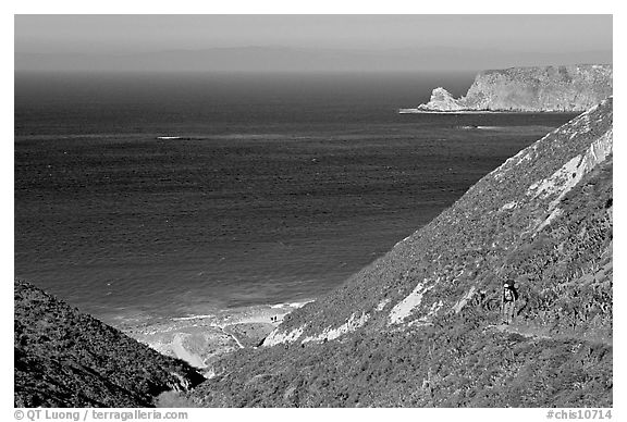 Nidever canyon overlooking Cyler harbor, San Miguel Island. Channel Islands National Park (black and white)