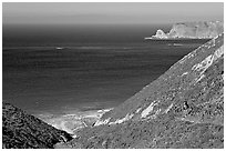 Nidever canyon overlooking Cyler harbor, San Miguel Island. Channel Islands National Park ( black and white)