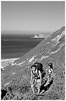 Backpackers in Nidever canyon , San Miguel Island. Channel Islands National Park ( black and white)