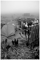 Campers in fog, San Miguel Island. Channel Islands National Park ( black and white)