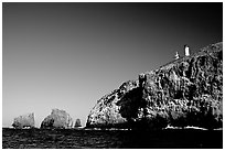 Cliffs and lighthouse, East Anacapa Island. Channel Islands National Park ( black and white)