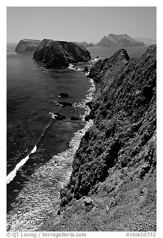 Cliffs near Inspiration Point, East Anacapa Island. Channel Islands National Park (black and white)
