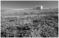 Water storage building with church-like facade, Anacapa. Channel Islands National Park ( black and white)