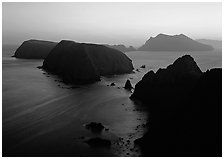 Sunset over island chain, Anacapa Island. Channel Islands National Park, California, USA. (black and white)