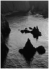 Rocks and ocean, Cathedral Cove, Anacapa, late afternoon. Channel Islands National Park ( black and white)