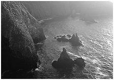 Cliffs and pointed rocks, Cathedral Cove, late afternoon, Anacapa Island. Channel Islands National Park ( black and white)