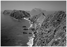 View from Inspiration Point, mid-day. Channel Islands National Park, California, USA. (black and white)