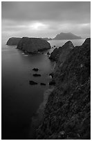 View from Inspiration Point, dusk. Channel Islands National Park, California, USA. (black and white)