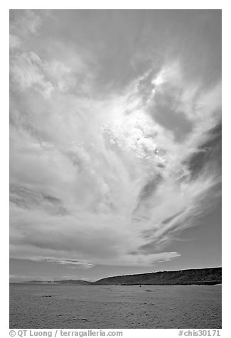 Clouds and Santa Rosa Island. Channel Islands National Park (black and white)
