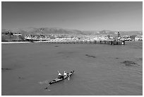 Kayakers in Bechers Bay, Santa Rosa Island. Channel Islands National Park ( black and white)