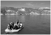 Campers using a skiff to land, San Miguel Island. Channel Islands National Park ( black and white)