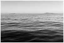 Ocean, Annacapa and Santa Cruz Islands at sunrise. Channel Islands National Park ( black and white)