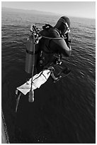 Scuba diver jumping from boat. Channel Islands National Park ( black and white)