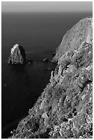 Rock and cliff in springtime, Santa Cruz Island. Channel Islands National Park ( black and white)