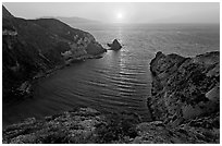 Potato Harbor cove at sunset, Santa Cruz Island. Channel Islands National Park ( black and white)