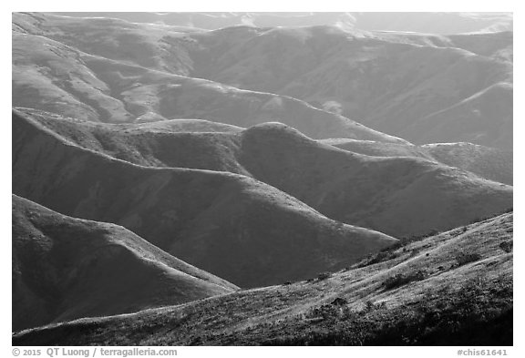 Hills and ridges in late afternoon, Santa Rosa Island. Channel Islands National Park (black and white)