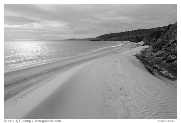 Dunes and sunlight, Water Canyon Beach, Santa Rosa Island. Channel Islands National Park (black and white)