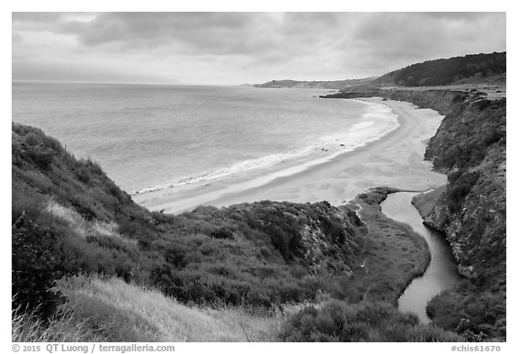Water Canyon Beach and stream from above, Santa Rosa Island. Channel Islands National Park (black and white)