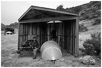 Camper, tent, wind shelter, Santa Rosa Island. Channel Islands National Park ( black and white)