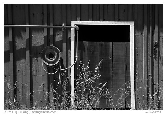 Barn door detail, Santa Rosa Island. Channel Islands National Park (black and white)