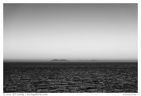 Sunrise over Catalina Island from Santa Barbara Island. Channel Islands National Park (black and white)