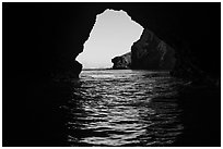 Sea cliffs framed by sea cave, Santa Cruz Island. Channel Islands National Park ( black and white)