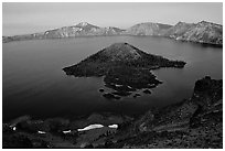 Wizard Island and Lake at dusk. Crater Lake National Park ( black and white)