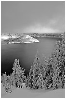 Lake and Wizard Island, winter sunrise. Crater Lake National Park ( black and white)
