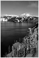 Lake rim in winter with blue skies. Crater Lake National Park ( black and white)