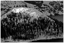 Last rays of sun on Wizard Island. Crater Lake National Park ( black and white)