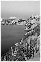 Lake, Mt Garfield, Mt Scott, winter dusk. Crater Lake National Park ( black and white)