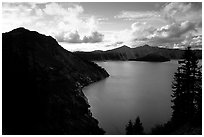 Clouds and lake from Sun Notch, sunset. Crater Lake National Park ( black and white)