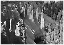 Pinnacles rising from Sand Creek Canyon. Crater Lake National Park ( black and white)