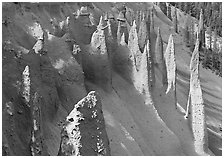 Vertical columns of volcanic origin. Crater Lake National Park ( black and white)