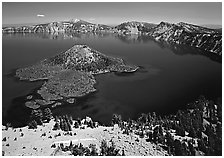 Lake and Wizard Island. Crater Lake National Park, Oregon, USA. (black and white)