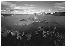 Wide view of lake with Wizard Island, afternoon. Crater Lake National Park ( black and white)