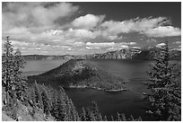Lake and Wizard Island, afternoon. Crater Lake National Park ( black and white)