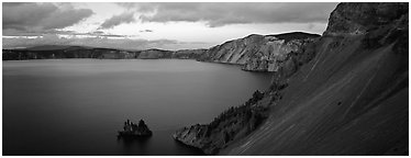Lake and cliffs, evening. Crater Lake National Park (Panoramic black and white)