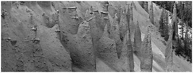 Group of fossilized steam vents. Crater Lake National Park (Panoramic black and white)