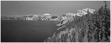 Pristine winter dusk scene. Crater Lake National Park (Panoramic black and white)