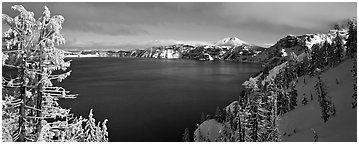 Lake and snow-covered trees. Crater Lake National Park (Panoramic black and white)