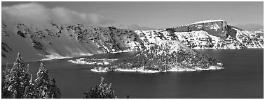 Wizard Island in winter. Crater Lake National Park (Panoramic black and white)