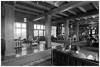 Main lobby of Crater Lake Lodge. Crater Lake National Park ( black and white)