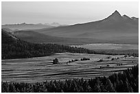 Meadows and Mt Bailey in the distance. Crater Lake National Park, Oregon, USA. (black and white)