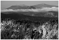 Lake rim and forest, and hills. Crater Lake National Park ( black and white)