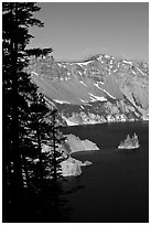 Phantom ship and Garfield Peak. Crater Lake National Park ( black and white)