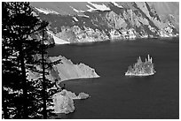 Island called Phantom Ship and crater walls. Crater Lake National Park ( black and white)