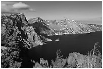 East rim view. Crater Lake National Park ( black and white)