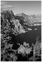 Dutton Cliff and lake. Crater Lake National Park ( black and white)