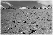 Pumice plain. Crater Lake National Park ( black and white)